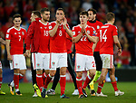 Andy King and Ben Woodburn of Wales applaud the crowd during the World Cup Qualifying Group D match at the Cardiff City Stadium, Cardiff. Picture date 2nd September 2017. Picture credit should read: Simon Bellis/Sportimage