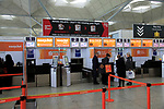 EasyJet check-in bag drop area, Stansted airport, Essex, England, UK