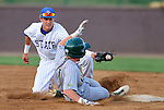 SIOUX FALLS, SD - MAY 22: Tyler Shannon #3 from South Dakota State puts the tag on Paul Funk #1 from North Dakota State at second base in the fourth inning Thursday night in the first round of the Summit League Baseball Tournament in Sioux Falls. (Photo by Dave Eggen/Inertia)