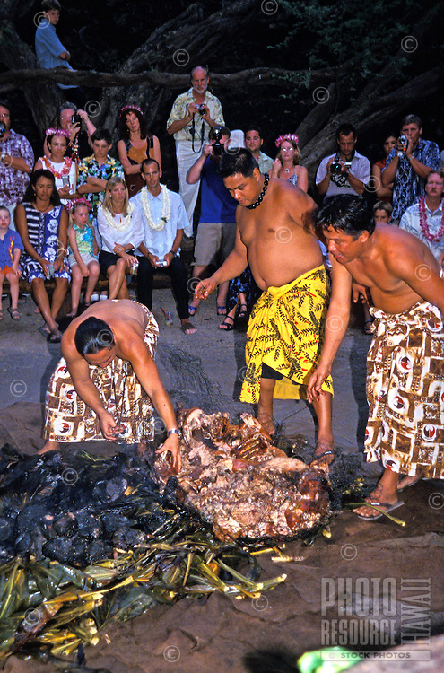 "Three Hawaiian men dressed in lavalavas (traditional  garments) pull a roasted pig out of the """"imu"""" or earth oven at the Kona Village Resort. Seated tourists watch the ceremony."