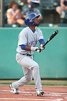 Aaron Shipman #10 of the Stockton Ports bats against the Visalia Rawhide at Rawhide Ballpark on May 5, 2014 in Visalia California. Visalia defeated Stockton, 8-6. (Larry Goren/Four Seam Images)