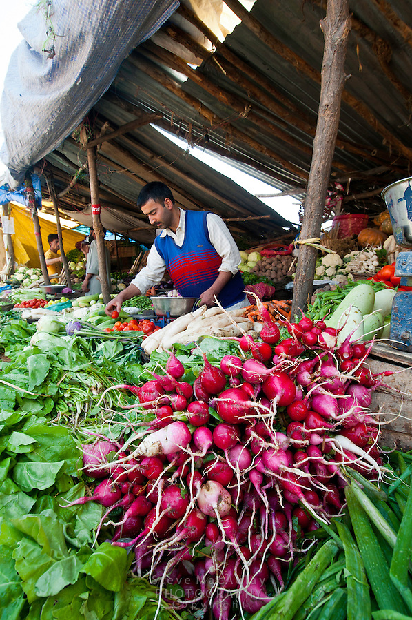 Fresh vegetables for sale at outdoor market, Hazratbal area, Srinagar, Kashmir, India.
