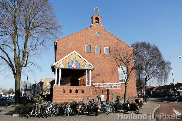 Nederland Amsterdam 2016. Kerk op het Mosplein in Amsterdam Noord. Koptisch Orthodox Bisdom Nederland. Heilige Maagd Maria Kerk. Foto Berlinda van Dam / Hollandse Hoogte