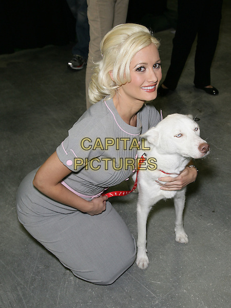 "HOLLY MADISON.Holly Madison participates in the Animal Foundation's 7th Annual ""Best in Show"" at the Orleans Arena at the Orleans Hotel and Casino, Las Vegas, Nevada, USA.   .May 23rd, 2010.full length grey gray dress skirt blouse top pink buttons dog animal kneeling crouching .CAP/ADM/MJT.© MJT/AdMedia/Capital Pictures."