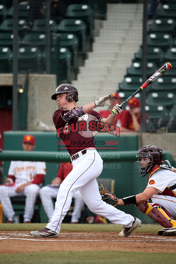 Jack Kruger (35) of the Mississippi State Bulldogs bats against the Southern California Trojans at Dedeaux Field on March 5, 2016 in Los Angeles, California. Mississippi State defeated Southern California , 8-7. (Larry Goren/Four Seam Images)