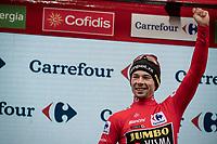 podium hapiness for Primoz Roglic (SVK/Jumbo-Visma) after securing his first Grand Tour win<br /> <br /> Stage 20: Arenas de San Pedro to Plataforma de Gredos (190km)<br /> La Vuelta 2019<br /> <br /> ©kramon
