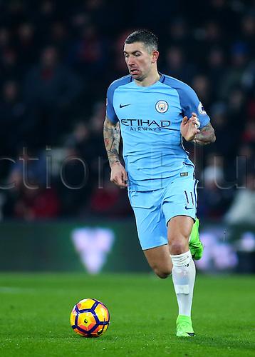 February 13th 2017, Vitality Stadium, Bournemouth, Dorset, England; EPL Premier league football, Bournemouth versus Manchester City; Aleksandar Kolarov of Manchester City brings the ball forward