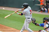 Bowie, MD - May 21, 2017: Binghamton Rumble Ponies shortstop Luis Guillorme (3) hits a single during the MiLB game between Binghamton and Bowie at  Baysox Stadium in Bowie, MD.  (Photo by Elliott Brown/Media Images International)