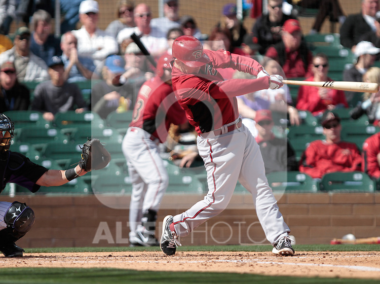 Aaron Hill  of Diamondbacks  ,during   Colorado Rockies vs Arizona Diamondbacks, game of  Cactus league and Spring Trainig 2013..Salt River Fields stadium in Arizona. February 24, 2013