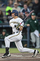Michigan Wolverines outfielder Jonathan Engelmann (2) follows through on his swing against the Michigan State Spartans during the NCAA baseball game on April 18, 2017 at Ray Fisher Stadium in Ann Arbor, Michigan. Michigan defeated Michigan State 12-4. (Andrew Woolley/Four Seam Images)