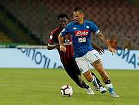 Marek Hamsik  during the  italian serie a soccer match,  SSC Napoli - Milan      at  the San  Paolo   stadium in Naples  Italy , August 25, 2018