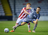 Lincoln City's Jack Payne vies for possession with Stoke City's Ryan Woods<br /> <br /> Photographer Chris Vaughan/CameraSport<br /> <br /> Football Pre-Season Friendly - Lincoln City v Stoke City - Wednesday July 24th 2019 - Sincil Bank - Lincoln<br /> <br /> World Copyright © 2019 CameraSport. All rights reserved. 43 Linden Ave. Countesthorpe. Leicester. England. LE8 5PG - Tel: +44 (0) 116 277 4147 - admin@camerasport.com - www.camerasport.com