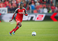 Toronto FC midfielder Tony Tchani #22 in action during an MLS game between Sporting Kansas City and the Toronto FC at BMO Field in Toronto on June 4, 2011..The game ended in a 0-0 draw...