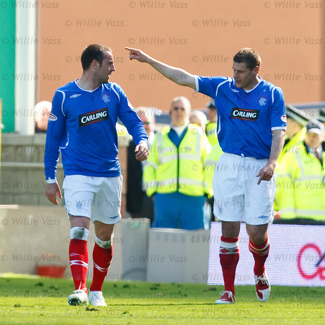 Andrius Velicka celebrates his goal with Kris Boyd