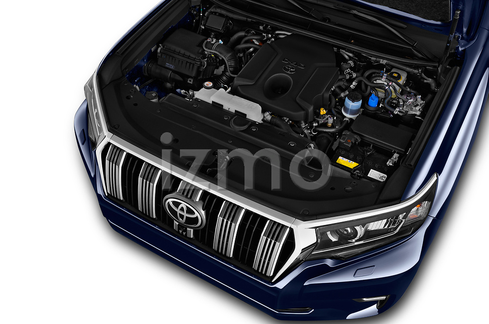 Car stock 2018 Toyota Landcruiser Premium 5 Door SUV engine high angle detail view