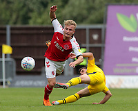 Fleetwood Town's Kyle Dempsey battles with Oxford United's Cameron Brannagan<br /> <br /> Photographer David Shipman/CameraSport<br /> <br /> The EFL Sky Bet League One - Oxford United v Fleetwood Town - Saturday August 11th 2018 - Kassam Stadium - Oxford<br /> <br /> World Copyright &copy; 2018 CameraSport. All rights reserved. 43 Linden Ave. Countesthorpe. Leicester. England. LE8 5PG - Tel: +44 (0) 116 277 4147 - admin@camerasport.com - www.camerasport.com