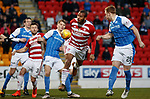 28.3.2018: St Johnstone v Hamilton:<br /> Liam Craig heads the ball in off a ruck of players in for the opening goal