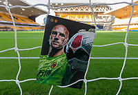 4th January 2020; Molineux Stadium, Wolverhampton, West Midlands, England; English FA Cup Football, Wolverhampton Wanderers versus Manchester United; General view of a match day programme in the goal netting before the match - Strictly Editorial Use Only. No use with unauthorized audio, video, data, fixture lists, club/league logos or 'live' services. Online in-match use limited to 120 images, no video emulation. No use in betting, games or single club/league/player publications