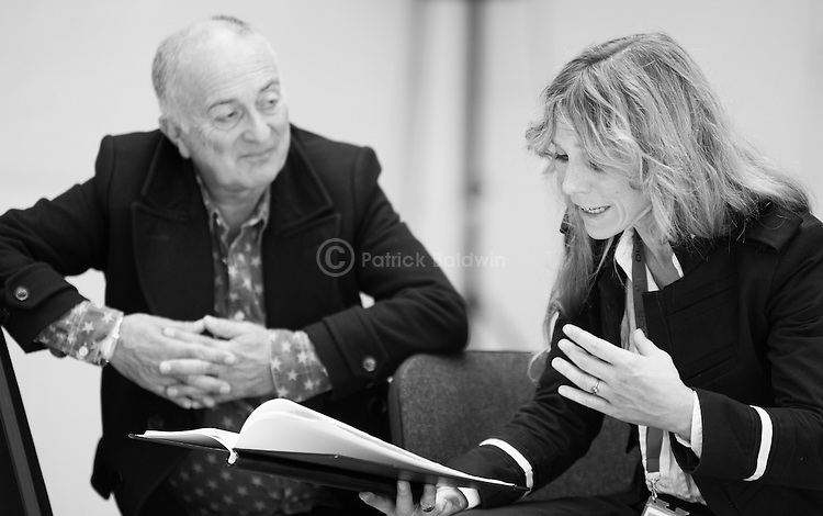 """King Lear"" rehearsed reading rehearsals. Old Vic Theatre. Director: Jonathan Miller. Tony Robinson, Honeysuckle Weeks."