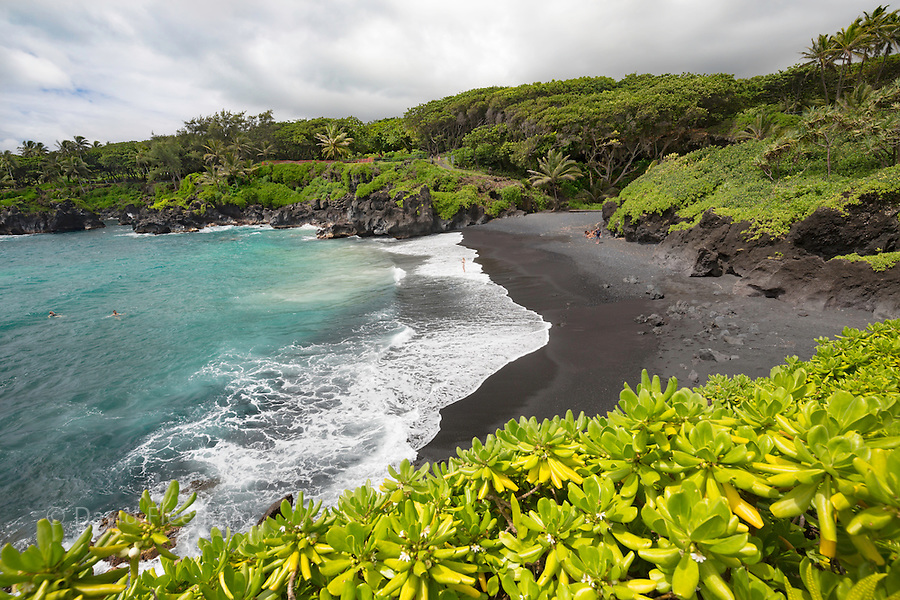 The black sand beach at Waianapanapa State Park, Hana, Maui, Hawaii.