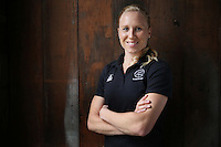 10.06.2014 Silver Fern Laura Langman at the New Zealand Silver Ferns netball team annoucement in Auckland for the 2014 Glasgow Commonwealth Games to be held next month. Mandatory Photo Credit ©Michael Bradley.
