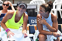 (L) Sara Errani (ITA) and Bibiane Schoofs (NL) after winning the double match during the ASB Classic WTA Women's Tournament Day 7 Doubles Final. ASB Tennis Centre, Auckland, New Zealand. Sunday 7 January 2018. ©Copyright Photo: Chris Symes / www.photosport.nz