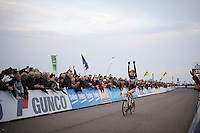 race winner Wout Van Aert (BEL/Vastgoedservice-Golden Palace) nearing the finish line victoriously; yet another great feat for this 20yr old.<br /> <br /> Koksijde CX World Cup 2014