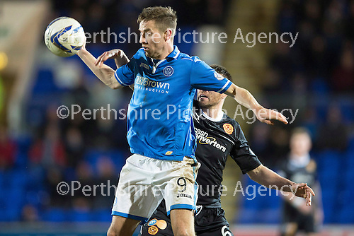 St Johnstone v Motherwell....25.02.14    SPFL<br /> Steven MacLean and Stephen McManus<br /> Picture by Graeme Hart.<br /> Copyright Perthshire Picture Agency<br /> Tel: 01738 623350  Mobile: 07990 594431