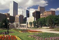 Denver, CO, Colorado, Skyline of downtown Denver from Civic Center Park adorned with flowers.