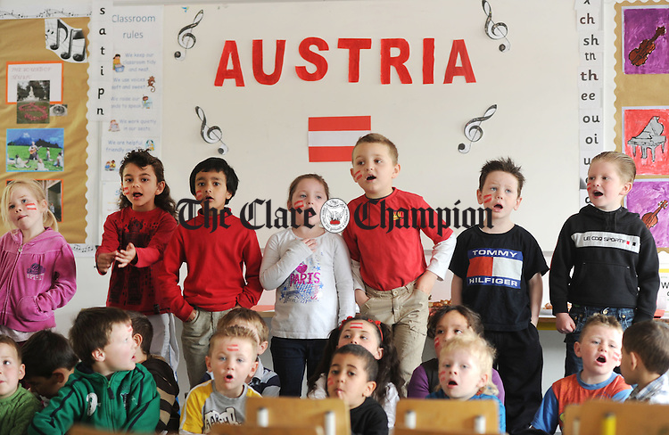 Taking part in a singing class at Educate Together National School. Photograph by Declan Monaghan