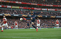 Valencia's Rodrigo with a first half attempt towards goal<br /> <br /> Photographer Rob Newell/CameraSport<br /> <br /> UEFA Europa League Semi-final 1st Leg - Arsenal v Valencia - Thursday 2nd May 2019 - The Emirates - London<br />  <br /> World Copyright © 2018 CameraSport. All rights reserved. 43 Linden Ave. Countesthorpe. Leicester. England. LE8 5PG - Tel: +44 (0) 116 277 4147 - admin@camerasport.com - www.camerasport.com