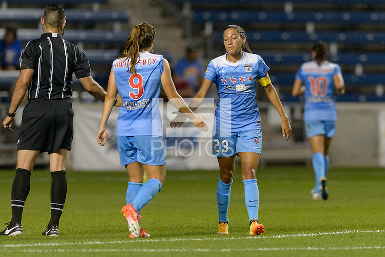 Chicago, IL - Wednesday Sept. 07, 2016: Stephanie McCaffrey, Christen Press during a regular season National Women's Soccer League (NWSL) match between the Chicago Red Stars and FC Kansas City at Toyota Park.
