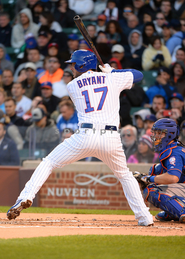 Chicago Cubs Kris Bryant (17) during a game against the New York Mets on May 13, 2015 at Wrigley Field in Chicago, IL. The Cubs beat the Mets 2-1.