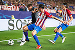 Atletico de Madrid's players Diego Godín and Filipe Luis and Bayern Munich's player Thomas Muller during match of UEFA Champions League at Vicente Calderon Stadium in Madrid. September 28, Spain. 2016. (ALTERPHOTOS/BorjaB.Hojas)