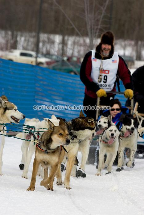 Gary McKellar Crossing Tudor Bridge Iditarod 2005 Ceremonial Start AK Anchorage