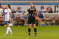 Bridgeview, IL - Saturday June 18, 2016: Referee Danielle Brzezinski-Chesky during a regular season National Women's Soccer League (NWSL) match between the Chicago Red Stars and the Boston Breakers at Toyota Park.