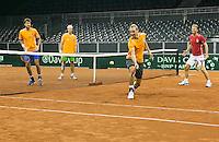 September 11, 2014, Netherlands, Amsterdam, Ziggo Dome, Davis Cup Netherlands-Croatia, practise, Dutch team playing volley game<br /> Photo: Tennisimages/Henk Koster