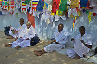 Buddhist Pilgrim's from Sri Lanka at the Varanasi Sarnath  Buddhist Area, Temple and Dhaekh Stupa, India