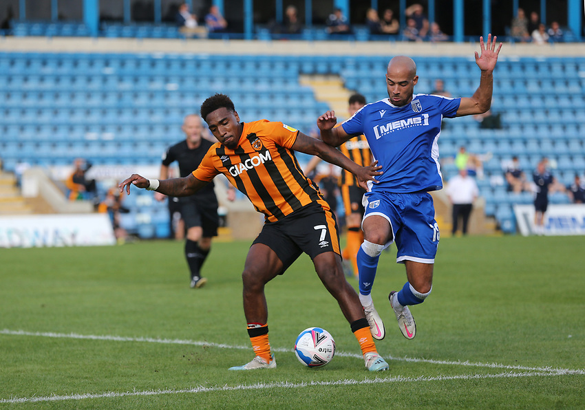 Gillingham's Jordan Graham and Hull City's Mallik Wilks<br /> Photographer Rob Newell/CameraSport<br /> <br /> The EFL Sky Bet League One - Gillingham v Hull City - Saturday September 12th 2020 - Priestfield Stadium - Gillingham<br /> <br /> World Copyright © 2020 CameraSport. All rights reserved. 43 Linden Ave. Countesthorpe. Leicester. England. LE8 5PG - Tel: +44 (0) 116 277 4147 - admin@camerasport.com - www.camerasport.com