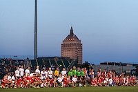 Sky Blue FC and the Western New York Flash line up for pre-game introductions. The Western New York Flash defeated Sky Blue FC 2-0 during a National Women's Soccer League (NWSL) semifinal match at Sahlen's Stadium in Rochester, NY, on August 24, 2013.
