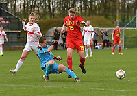 20190403  - Tubize , BELGIUM : Belgian Aster Janssens (R) with Swiss Sabina Jackson (L) and Swiss goalkeeper Elvira Herzog (M) pictured during the soccer match between the women under 19 teams of Belgium and Switzerland , on the first matchday in group 2 of the UEFA Women Under19 Elite rounds in Tubize , Belgium. Wednesday 3 th April 2019 . PHOTO DIRK VUYLSTEKE / Sportpix.be