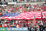 28 May 2006: U.S. Supporters' section flies the U.S. flag during the national anthem, pregame. The United States Men's National Team defeated Latvia 1-0 at Rentschler Field in East Hartfort, Connecticut in an international friendly soccer match.
