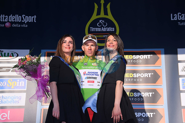 Davide Ballerini (ITA) Androni Giocattoli takes over the Maglia Verde mountains jersey at the end of Stage 6 of the 2017 Tirreno Adriatico running 168km from Ascoli Piceno to Civitanova Marche, Italy. 13th March 2017.<br /> Picture: La Presse/Gian Mattia D'Alberto | Cyclefile<br /> <br /> <br /> All photos usage must carry mandatory copyright credit (&copy; Cyclefile | La Presse)