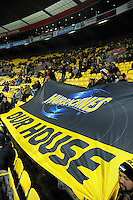 A Hurricanes banner is unfurled during the Super Rugby semifinal match between the Hurricanes and Chiefs at Westpac Stadium, Wellington, New Zealand on Saturday, 30 July 2016. Photo: Dave Lintott / lintottphoto.co.nz