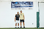 Petros Chrysochos (left) and Borna Gojo of the Wake Forest Demon Deacons pose for a photo before facing off against each other in the finals of the 2018 NCAA Men's Tennis Singles Championship at the Wake Forest Indoor Tennis Center on May 28, 2018 in Winston-Salem, North Carolina. Petros Chrysochos defeated teammate Borna Gojo 6-3 6-3.  (Brian Westerholt/Sports On Film)
