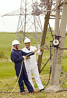 Apprentice training at National Grid Transco, Eakring.Pictured in blue overalls is Overhead Line Apprentice Ben Ash with Trainer Ian Robinson