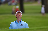 Trey Mullinax (USA) watches his ball roll out on the green after his shot from the trap on 2 during round 3 of the 2019 Charles Schwab Challenge, Colonial Country Club, Ft. Worth, Texas,  USA. 5/25/2019.<br /> Picture: Golffile | Ken Murray<br /> <br /> All photo usage must carry mandatory copyright credit (© Golffile | Ken Murray)