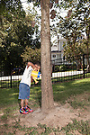 September 14, 2011. Raleigh, NC. .  Marcus Mitchell water a tree with sand form the sandbox during recess.. Project Enlightenment, a public pre-kindergarten program for at risk children, has been threatened with closure due to state wide budget cuts..