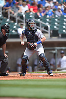 ***Temporary Unedited Reference File***Pensacola Blue Wahoos catcher Chad Wallach (20) during a game against the Birmingham Barons on May 2, 2016 at Regions Field in Birmingham, Alabama.  Pensacola defeated Birmingham 6-3.  (Mike Janes/Four Seam Images)