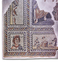 Roman mosaics - Seasons  Mosaic. Telete Villa.  2nd - 3rd century AD . Zeugma Mosaic Museum, Gaziantep, Turkey.  Against a white background.<br /> <br /> Seasons mosaic Telete, was unearthed during the rescue excavations y Gaziantep Museum in 1994 when it was about to be stolen by the traffickers. It is the floor mosaic of a villa terrace located on the western skins of Zeugma hill <br /> <br /> The pane% consists of nine parts. At the central panel, Eros, who Is a mythological character and who has a crown on his head, sits side by side with Telete, the daughter of Dionysus. This representation symbolises the preparation of a young woman who is just about to taste the love and to become mature. There are busts of seasonal gods In the square panels at the corners. The crowned head of the Spring Goddess Ear Is slightly towards right. She wears a floral necklace. Her righr shoulder is naked and the crimps of her cloak are seen on her left shoulder. There is the bust of the river god on the top-right of the Telete panel. A kid lying on the grass and a bucket are pictured in the lower rectangular panel. In the western-side rectangular panel, on the other hand, there are four fish going in and out of a game basket. There is a rabbit figure within the rectangular panel on the right. Mythical narrations and natural life are intertwined in this mosaic.